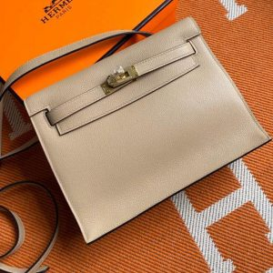 Replica Hermes Kelly Danse 22cm Bag in Beige Evercolor Leather with Gold Buckle