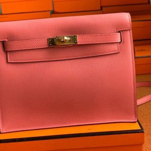 Replica Hermes Kelly Danse 22cm Bag in Red Evercolor Leather with Gold Buckle