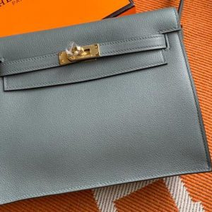 Replica Hermes Kelly Danse 22cm Bag in Gray Evercolor Leather with Gold Buckle