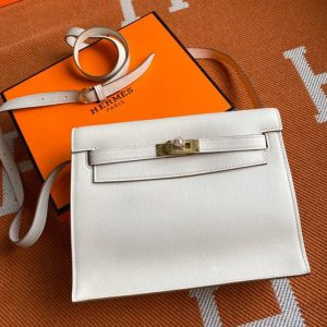 Replica Hermes Kelly Danse 22cm Bag in White Evercolor Leather with Gold Buckle