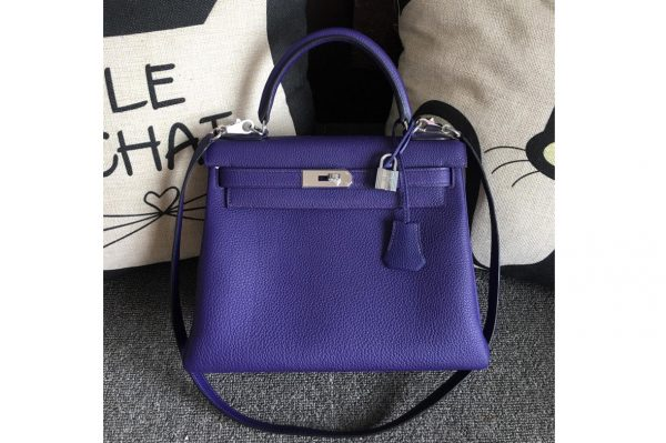 Replica Hermes Kelly 28cm Bag Full Handmade in Original Blue Togo Leather With Silver Buckle