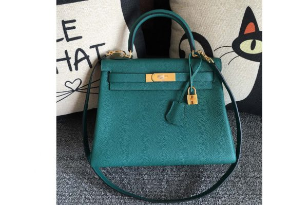 Replica Hermes Kelly 28cm Bag Full Handmade in Original Green Togo Leather With Gold Buckle
