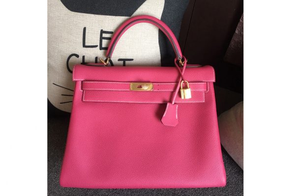 Replica Hermes Kelly 28cm Bag Full Handmade in Original Raspberry Togo Leather With Gold Buckle