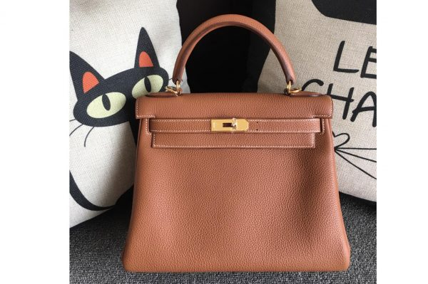 Replica Hermes Kelly 28cm Bag Full Handmade in Original Brown Togo Leather With Gold Buckle