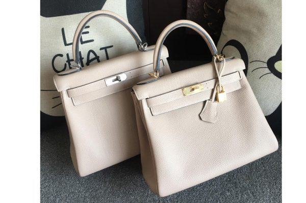 Replica Hermes Kelly 28cm Bag Full Handmade in Original Beige Togo Leather With Gold/Silver Buckle