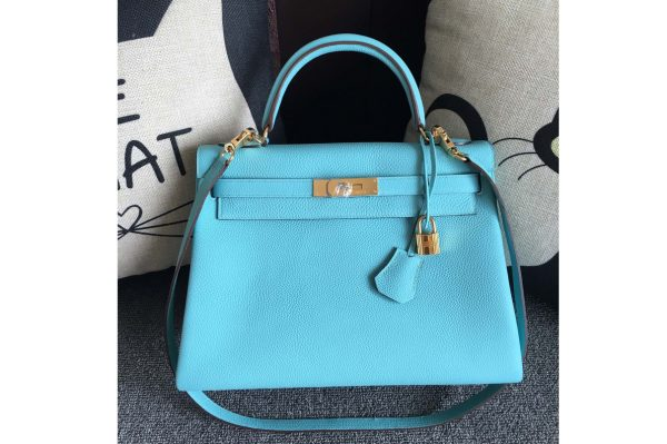 Replica Hermes Kelly 28cm Bag Full Handmade in Original Light Blue Togo Leather With Gold Buckle