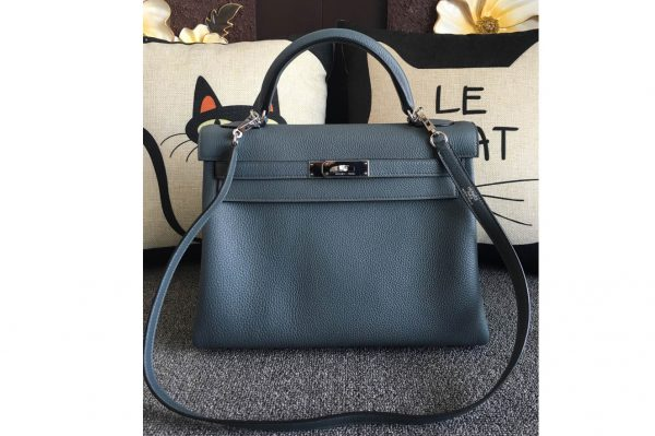 Replica Hermes Kelly 28cm Bag Full Handmade in Original Navy Blue Togo Leather With Silver Buckle