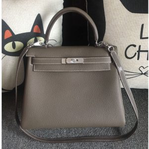 Replica Hermes Kelly 28cm Bag Full Handmade in Original Gray Togo Leather With Silver Buckle