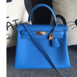 Replica Hermes Kelly 28cm Bag Full Handmade in Original Blue Togo Leather With Gold Buckle