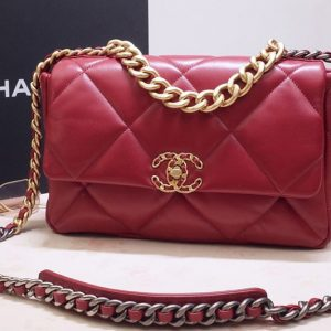 Replica CC AS1160 19 Flap Bag In Red Goatskin Leather