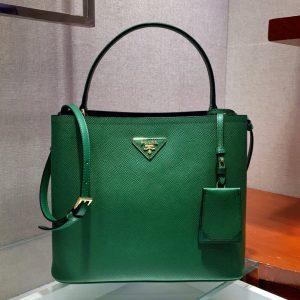 Replica Prada 1BA211 Panier Saffiano leather bag Green Saffiano leather