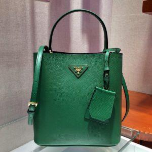 Replica Prada 1BA212 Panier Medium bag Green Saffiano leather