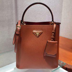Replica Prada 1BA212 Panier Medium bag Brown Saffiano leather
