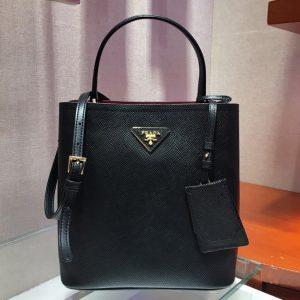 Replica Prada 1BA212 Panier Medium bag Black Saffiano leather