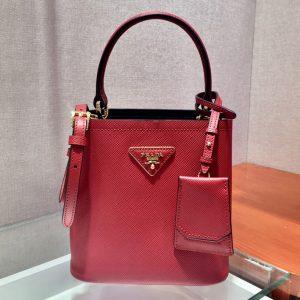 Replica Prada 1BA217 Panier Small bag Red Saffiano leather