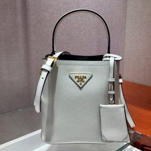 Replica Prada 1BA217 Panier Small bag White Saffiano leather