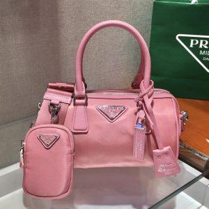 Replica Prada 1BA846 Boston bag in Pink Nylon