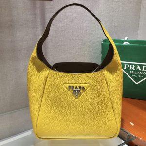 Replica Prada 1BC127 Leather Bucket Handbag in Yellow Calf Leather