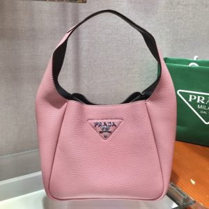Replica Prada 1BC127 Leather Bucket Handbag in Pink Calf Leather