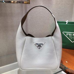 Replica Prada 1BC127 Leather Bucket Handbag in White Calf Leather