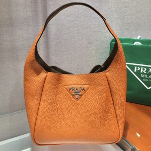 Replica Prada 1BC127 Leather Bucket Handbag in Tan Calf Leather