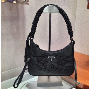 Replica Prada 1BC204 Mini Nylon Hobo Bag in Black Nylon