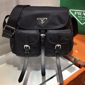 Replica Prada 1BD225 Nylon and Saffiano leather shoulder bag in Black Nylon
