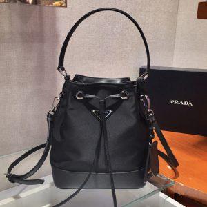 Replica Prada 1BE055 Nylon Bucket Bag in Black Nylon