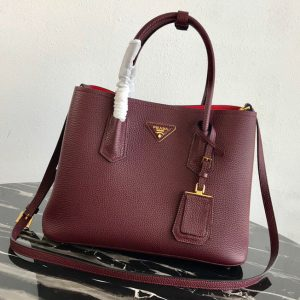 Replica Prada 1BG008 Double Medium Bag in Burgundy Saffiano leather