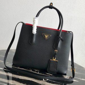 Replica Prada 1BG008 Double Medium Bag in Black/Red Saffiano leather