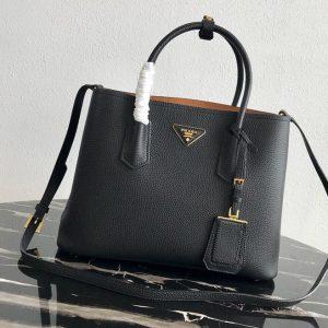 Replica Prada 1BG008 Double Medium Bag in Black/Brown Saffiano leather