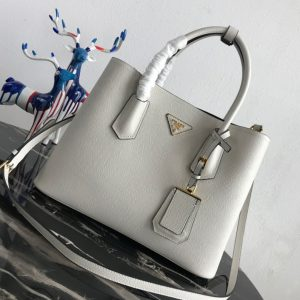 Replica Prada 1BG2775 Double Medium Bag in White/Black Saffiano leather