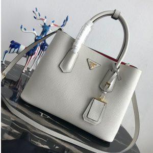 Replica Prada 1BG2775 Double Medium Bag in White/Red Saffiano leather