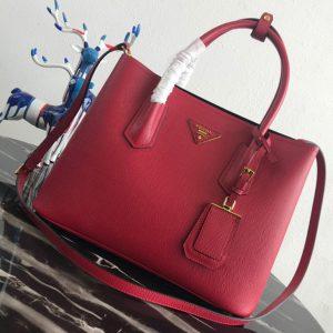 Replica Prada 1BG2775 Double Medium Bag in Red/Black Saffiano leather