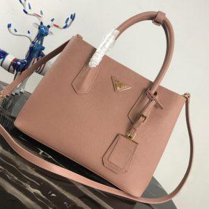 Replica Prada 1BG2775 Double Medium Bag in Pink Saffiano leather