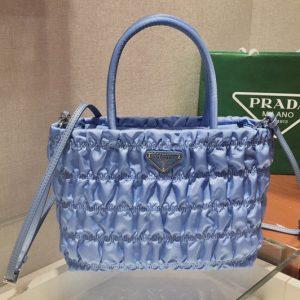 Replica Prada 1BG321 Nylon tote Bag in Blue Embossed nylon