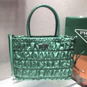 Replica Prada 1BG321 Nylon tote Bag in Green Embossed nylon