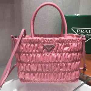 Replica Prada 1BG321 Nylon tote Bag in Pink Embossed nylon