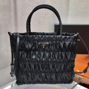 Replica Prada 1BG321 Nylon tote Bag in Black Embossed nylon