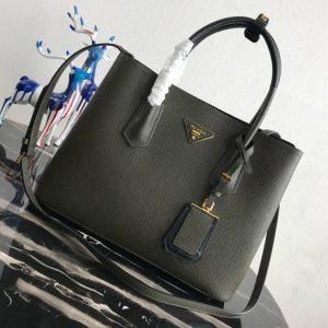 Replica Prada 1BG008 Double Medium Bag in Black/Black Saffiano leather