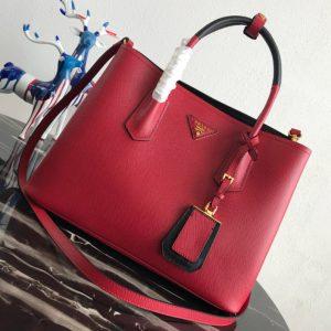 Replica Prada 1BG775 Double Medium Bag in Red Saffiano leather