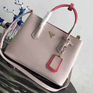 Replica Prada 1BG775 Double Medium Bag in Pink Saffiano leather