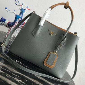 Replica Prada 1BG775 Double Medium Bag in Gray Saffiano leather