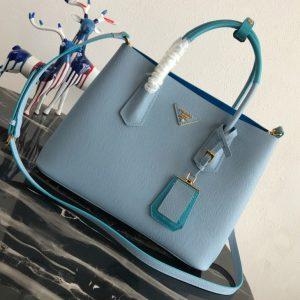 Replica Prada 1BG775 Double Medium Bag in Light Blue Saffiano leather