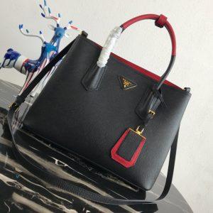 Replica Prada 1BG775 Double Medium Bag in Black Saffiano leather