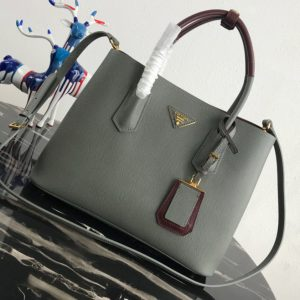 Replica Prada 1BG775 Double Medium Bag in Gray/Burgundy Saffiano leather