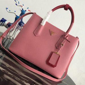 Replica Prada 1BG775 Double Medium Bag in Pink/Red Saffiano leather