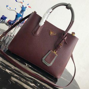 Replica Prada 1BG775 Double Medium Bag in Burgundy/Gray Saffiano leather