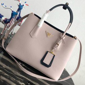 Replica Prada 1BG775 Double Medium Bag in Pink/Black Saffiano leather