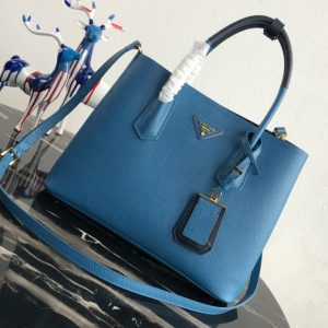 Replica Prada 1BG775 Double Medium Bag in Blue/Black Saffiano leather